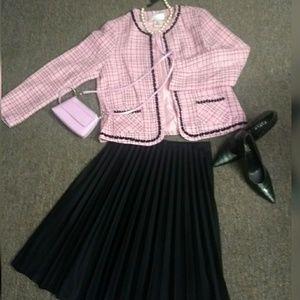 Sophisticated  pink tweed blazer.